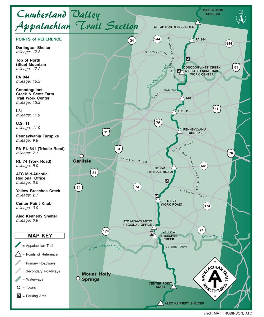 Appalachian Trail Section Map